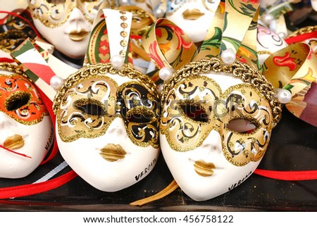 Beautiful elegant venetian masks, made in Verona. Fancy party concept - stock photo