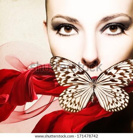 Beautiful, elegant woman flyer design - stock photo