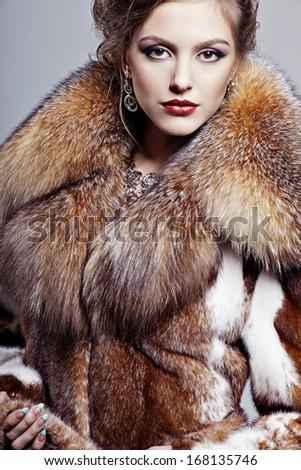 Beautiful Elegant Woman Fur Coat Stock Photo 168135755 - Shutterstock