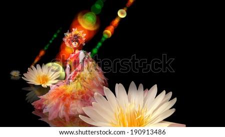 Beautiful elf girl is sitting on the water among flowers - stock photo