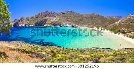 beautiful emerald beaches of Greece - Serifos island , Cyclades - stock photo