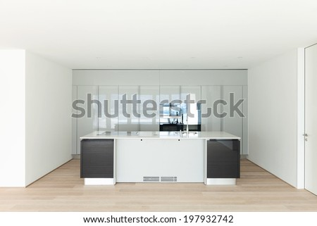 beautiful empty apartment, hardwood floor, modern kitchen - stock photo