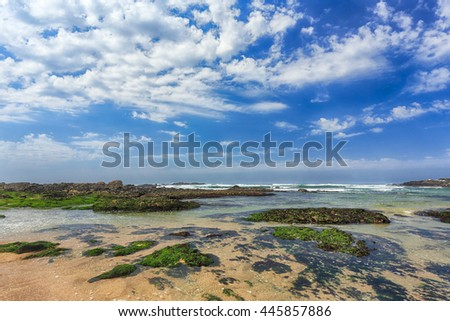 Beautiful empty rocky beach from the north of Portugal - stock photo