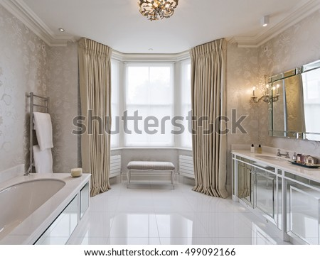 Modern blue bathroom shower cabin stock photo 36639712 for Beautiful en suite bathrooms