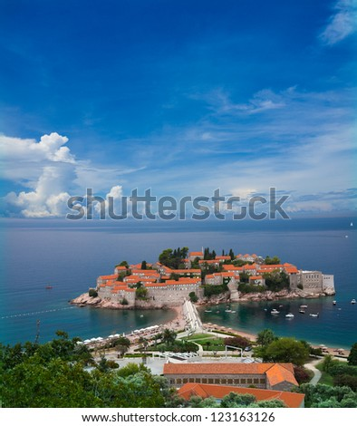 Beautiful entire sveti Stefan peninsula in Montenegro