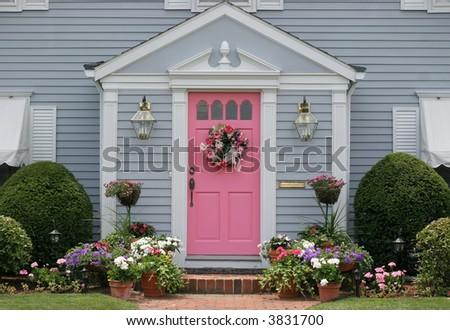 beautiful entranceway to house - stock photo