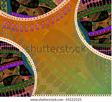 beautiful ethnic background of the various elements (raster version) - stock photo