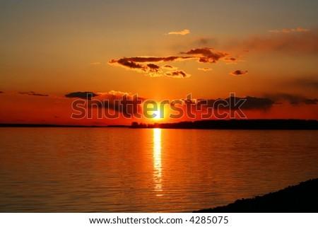 Beautiful evening on river - stock photo