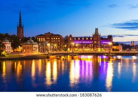 Beautiful evening scenic panorama of the Old Town (Gamla Stan) pier architecture in Stockholm, Sweden - stock photo