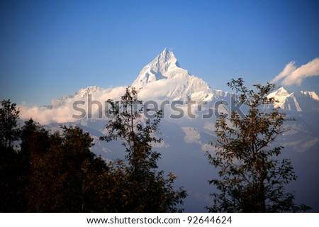 Beautiful evening view of the Himalayan mountains when see from Sarangkot, Pokhara, Nepal - stock photo