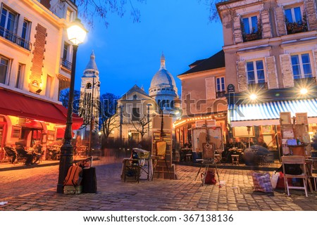 Beautiful evening view of the Place du Tertre and the Sacre-Coeur in Paris, France - stock photo