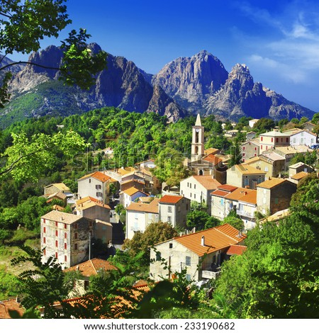 beautiful Evisa - mountain village in Corsica - stock photo