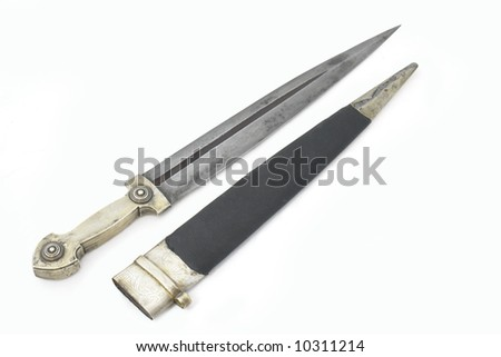 Beautiful example of caucasian dagger with silver grip and blade from Damascus steel in form of Rome sword. 19 century (Time of Russian-Caucasian wars (1816-1864)). Russia