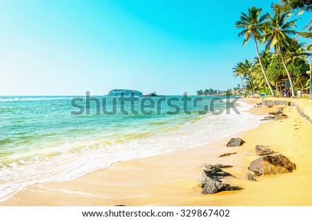 Beautiful exotic beach with golden sand and tall palm trees against the azure sea and blue sky, Caribbean Islands - stock photo