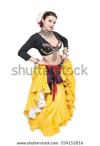 Beautiful exotic belly tribal dancer woman isolated