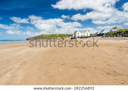 Beautiful expanse of golden sand at Broad Haven Beach Wales UK Europe - stock photo