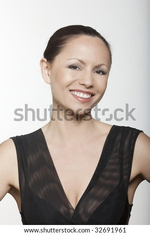 beautiful expressing woman portrait on siolated background - stock photo