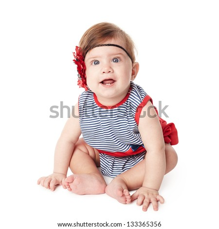 Beautiful expressive adorable happy cute smiling baby - stock photo