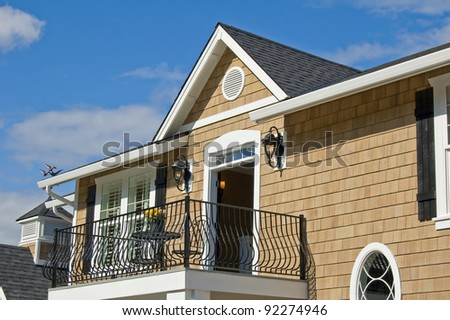 Beautiful Exterior of New Luxury Home - stock photo