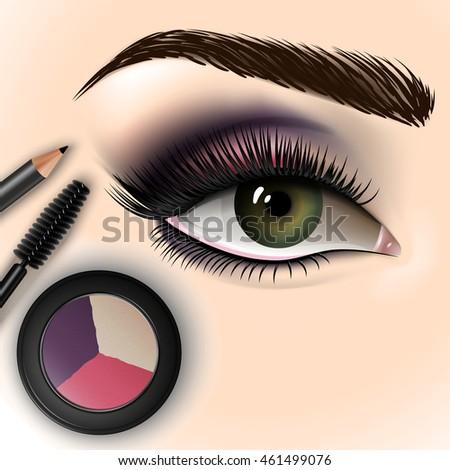 Eye Makeup Closed Eye Long Eyelashes Stock Vector 403349335 - Shutterstock