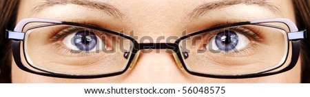 Beautiful eyes and glasses - stock photo