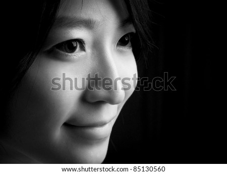 Beautiful eyes and sweet smile of Asian young woman - stock photo