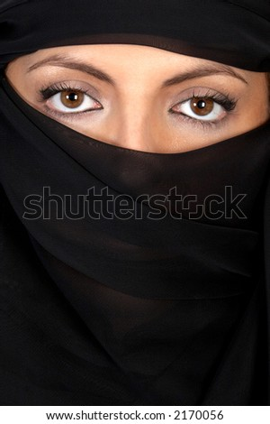 Beautiful eyes looking from above her veil