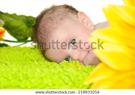 Beautiful eyes of a baby a few months - stock photo