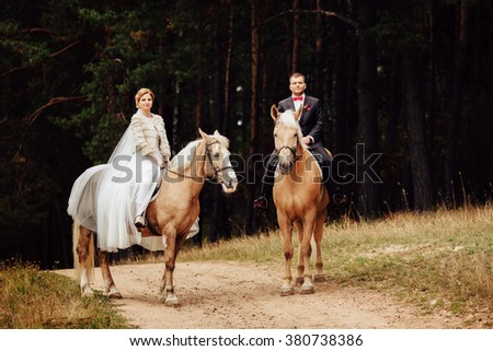 beautiful fabulous happy bride and stylish groom riding horses on the background of the autumn forest - stock photo