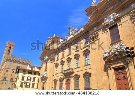 Beautiful facade of a Baroque palace in Florence, region of Tuscany, Italy