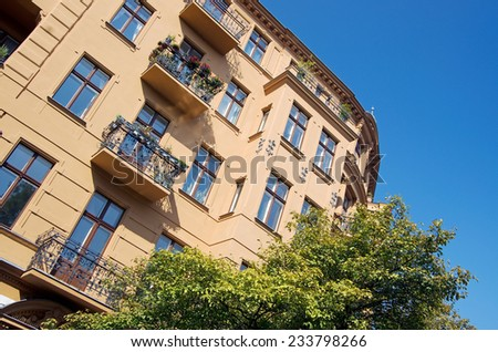 beautiful facade of an old house in Berlin friedrichshain - stock photo