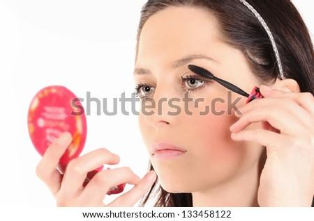 Beautiful Face Makeup close-up. - stock photo