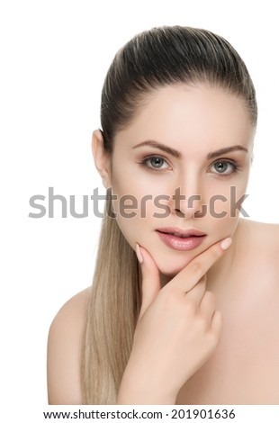 Beautiful face of a woman with clean skin - white background - stock photo