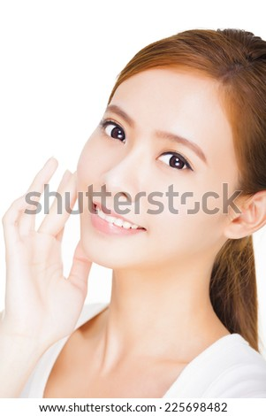 Beautiful face of young adult woman with clean fresh skin. skin care concept - stock photo
