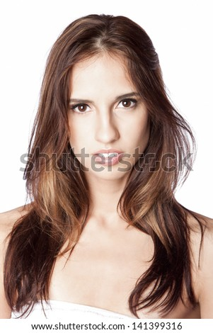 Beautiful face of young woman with natural makeup showing white teeth, skincare concept, isolated.