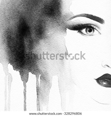 Beautiful face. woman portrait. abstract watercolor .fashion background - stock photo