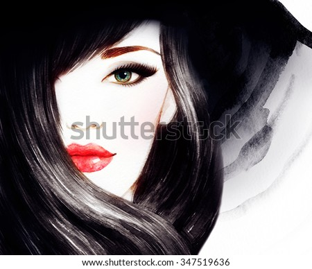 Beautiful face. woman portrait with hat. watercolor painting .fashion background - stock photo