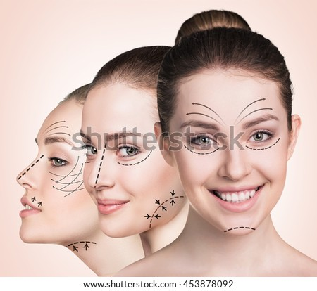Beautiful faces of young woman - stock photo