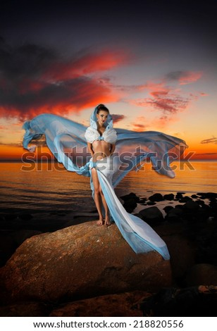 beautiful fairytale woman on a sunset background