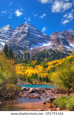 Beautiful fall day, in Maroon Bells, Colorado.