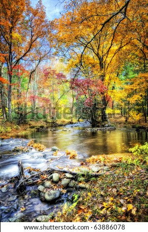 Beautiful Fall stream with orange, yellow, red and green trees - stock photo
