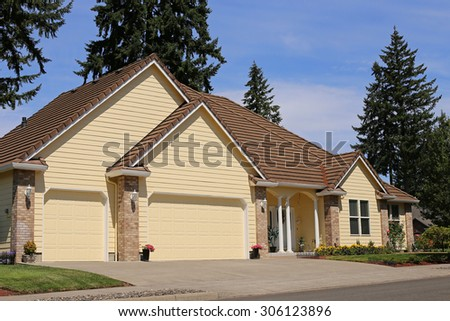Beautiful Family Home in Suburban Neighborhood - stock photo
