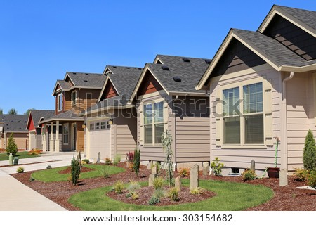 Beautiful Family Homes in Suburban Neighborhood - stock photo