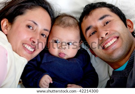 Beautiful family portrait with a baby boy