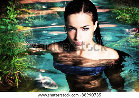 beautiful fantasy woman in water