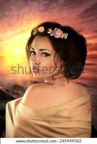 Beautiful fantasy woman on ocean beach. Magical portrait. Book cover - stock photo