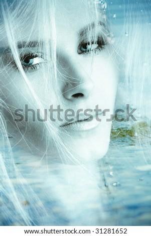 beautiful fantasy woman portrait - stock photo