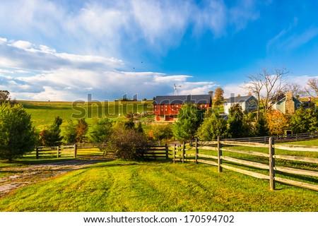 Beautiful farm in rural York County, Pennsylvania. - stock photo