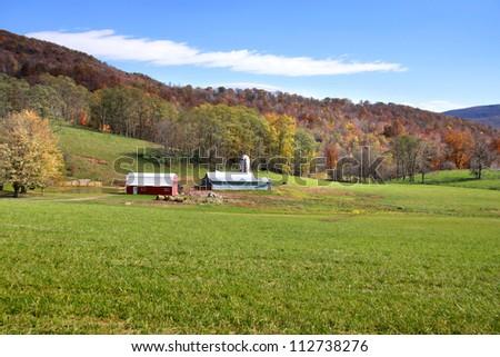 Beautiful farm scene in West Virginia - stock photo