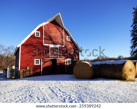 beautiful farm setting with red barn